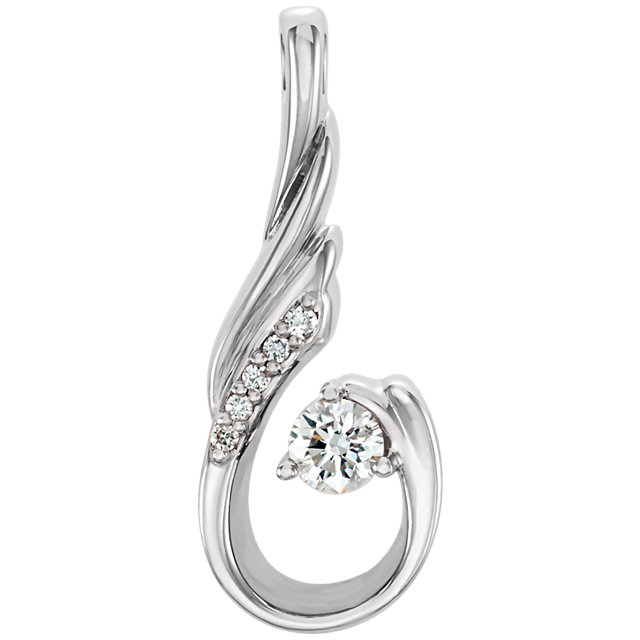 Easy Gift in Platinum 0.12 Carat Total Weight Diamond Pendant