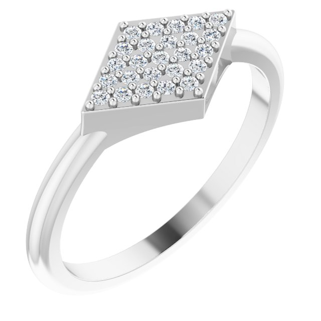 Genuine Diamond Ring in Platinum 1/8 Carat Diamond Geometric Ring