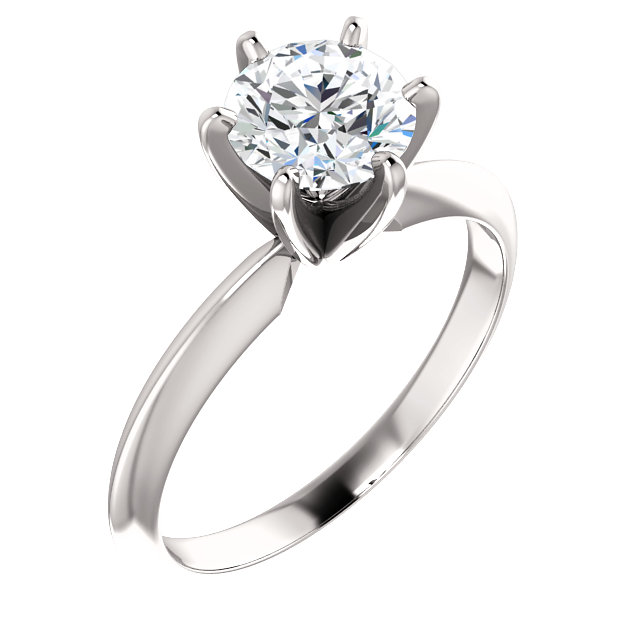 Platinum 1 CTW Diamond 6-Prong Solitaire Light Engagement Ring