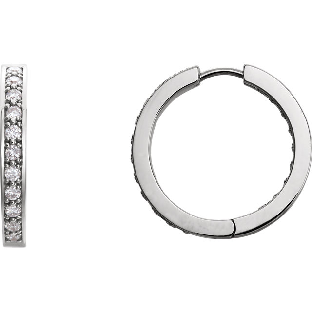 Great Gift in Platinum 1 Carat Total Weight Diamond Hoop Inside/Outside Earrings