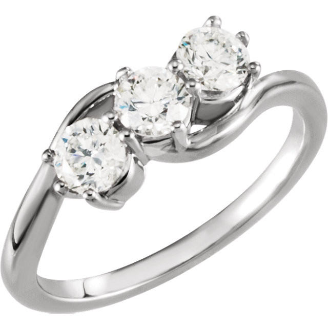 Great Deal in Platinum 1 Carat Total Weight Diamond Three-Stone Ring