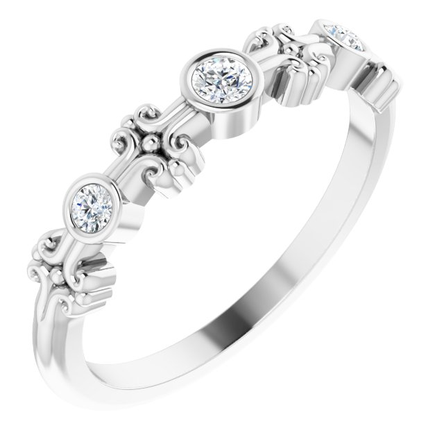 Genuine Diamond Ring in Platinum .10 Carat Diamond Bezel-Set Ring
