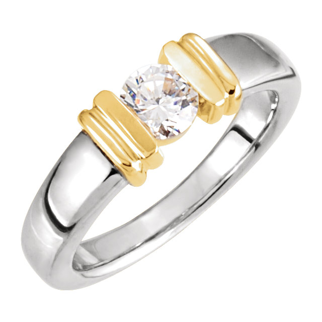 Platinum & 18 Karat Yellow Gold  0.25 Carat Diamond Solitaire Engagement Ring
