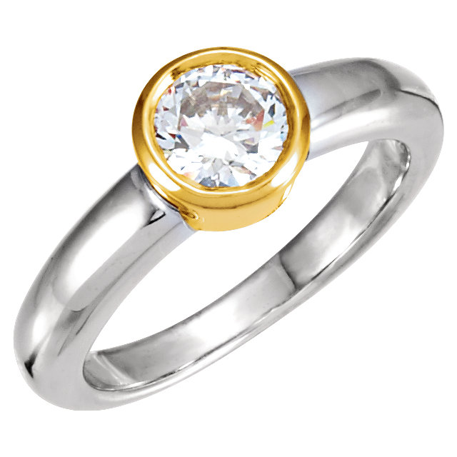 Great Buy in Platinum & 18 Karat Yellow Gold 0.25 Carat Total Weight Diamond Solitaire Engagement Ring