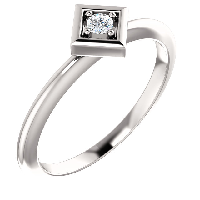 Great Deal in Platinum 2.5mm Round .06 Carat Total Weight Diamond Stackable Geometric Ring