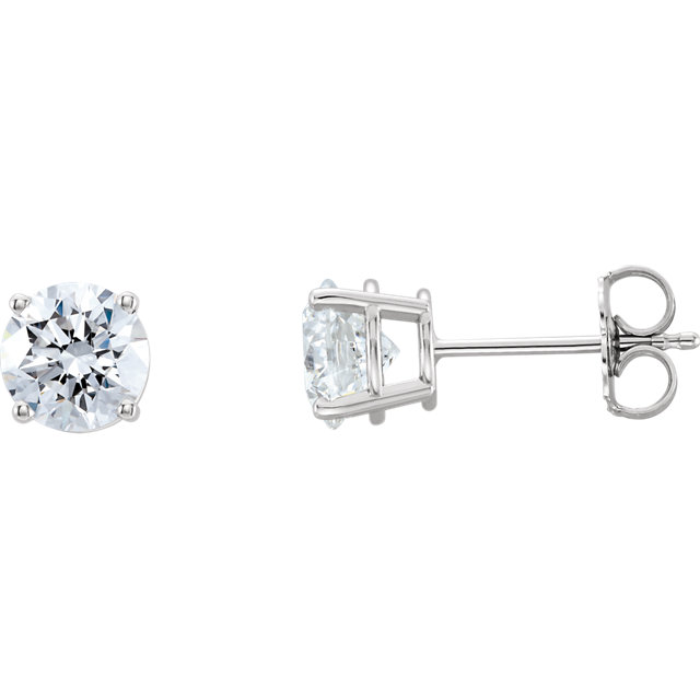 Fine Quality Platinum 2 Carat Total Weight Lab-Grown Diamond Stud Earrings