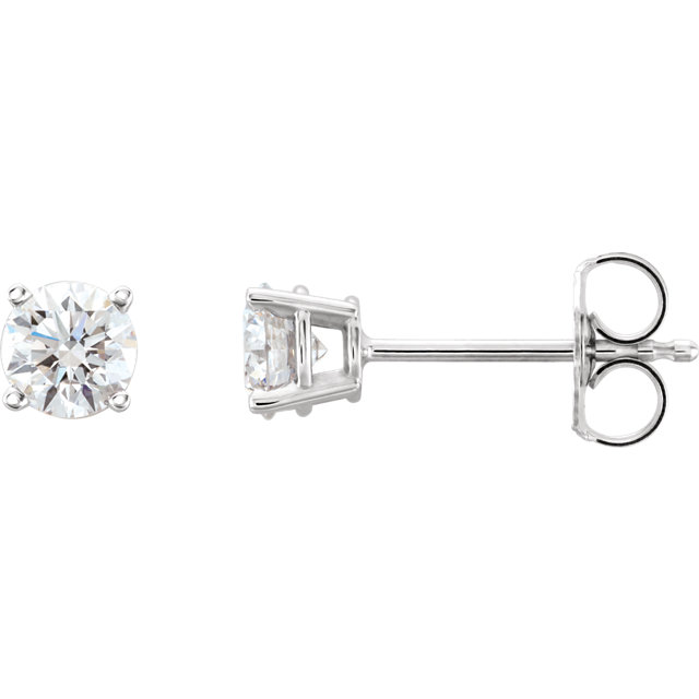 Fine Quality Platinum 0.75 Carat Total Weight Lab-Grown Diamond Stud Earrings