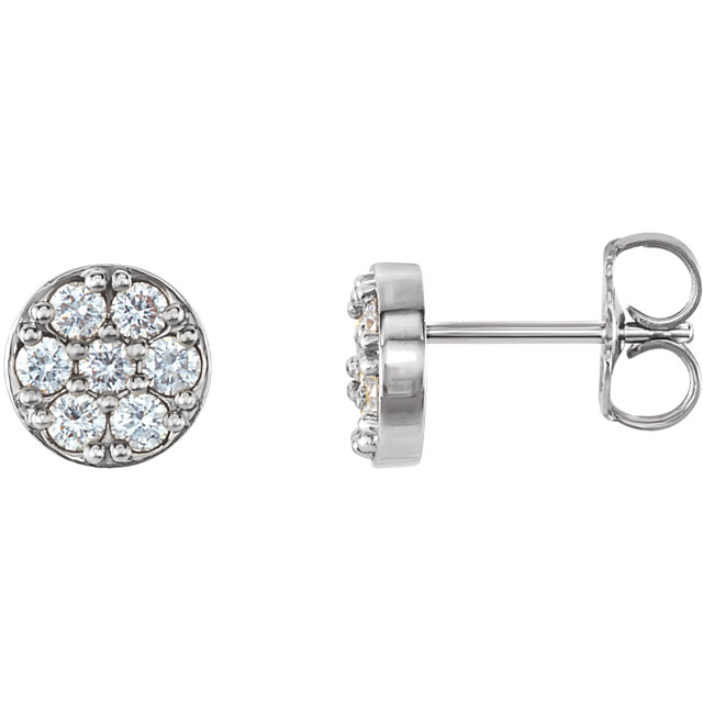 Great Gift in Platinum 0.40 Carat Total Weight Diamond Cluster Earrings