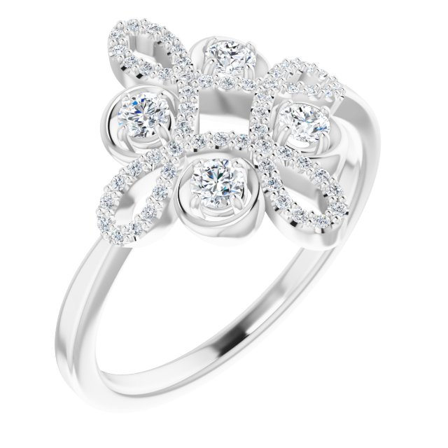 Genuine Diamond Ring in Platinum 3/8 Carat Diamond Clover Ring