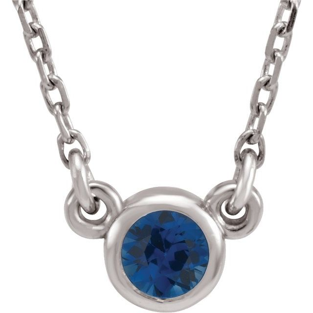 Genuine Chatham Created Sapphire Pendant in Platinum 3 mm Round Chatham Lab-Created Genuine Sapphire Bezel-Set Solitaire 16