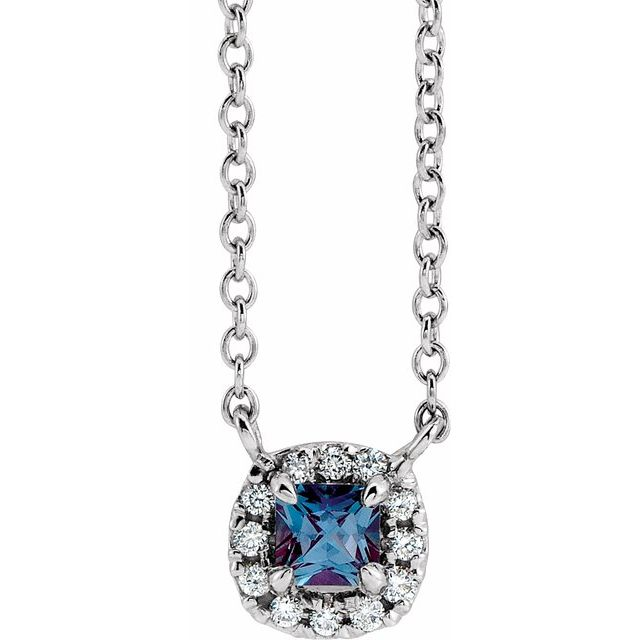 Chatham Created Alexandrite Necklace in Platinum 3x3 mm Square Chatham Lab-Created Alexandrite & .05 Carat Diamond 16