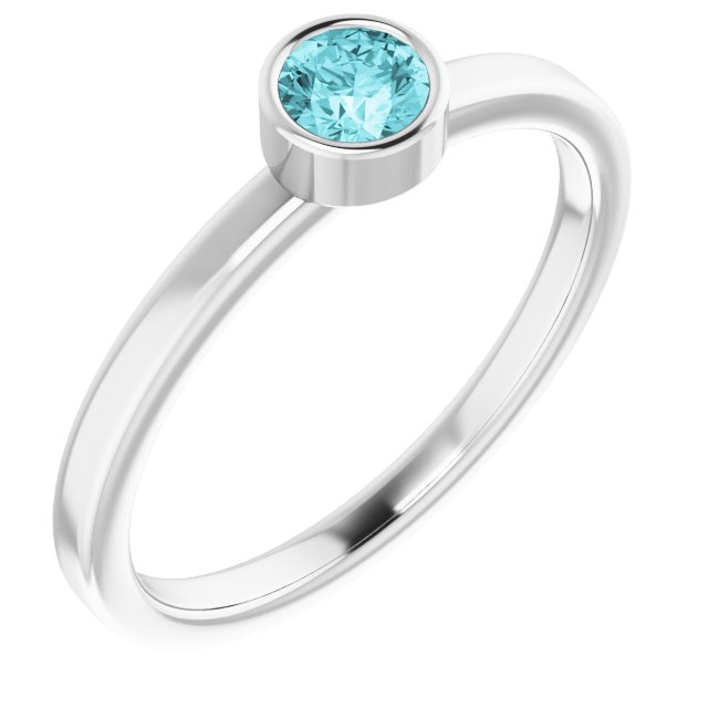 Genuine Zircon Ring in Platinum 4 mm Round Genuine Zircon Ring