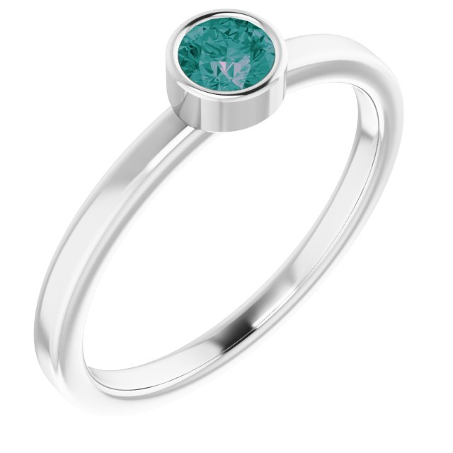 Chatham Created Alexandrite Ring in Platinum 4 mm Round Chatham Lab-Created Alexandrite Ring