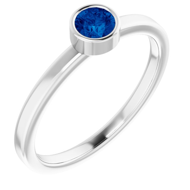 Chatham Created Sapphire Ring in Platinum 4 mm Round Chatham Lab-Created Genuine Sapphire Ring