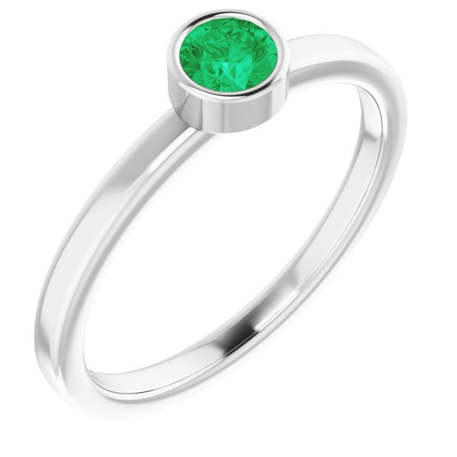 Chatham Created Emerald Ring in Platinum 4 mm Round Chatham Lab-Created Emerald Ring