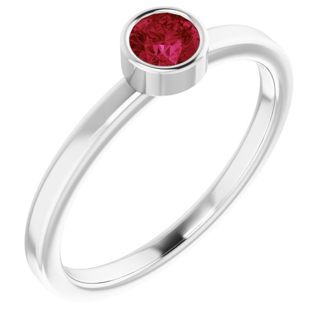 Genuine Ruby Ring in Platinum 4 mm Round Ruby Ring