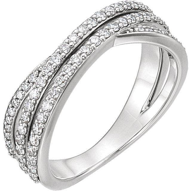 Fine Platinum 0.50 Carat TW Diamond Criss Cross Ring