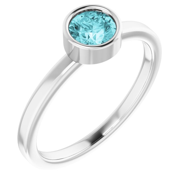 Genuine Zircon Ring in Platinum 5 mm Round Genuine Zircon Ring