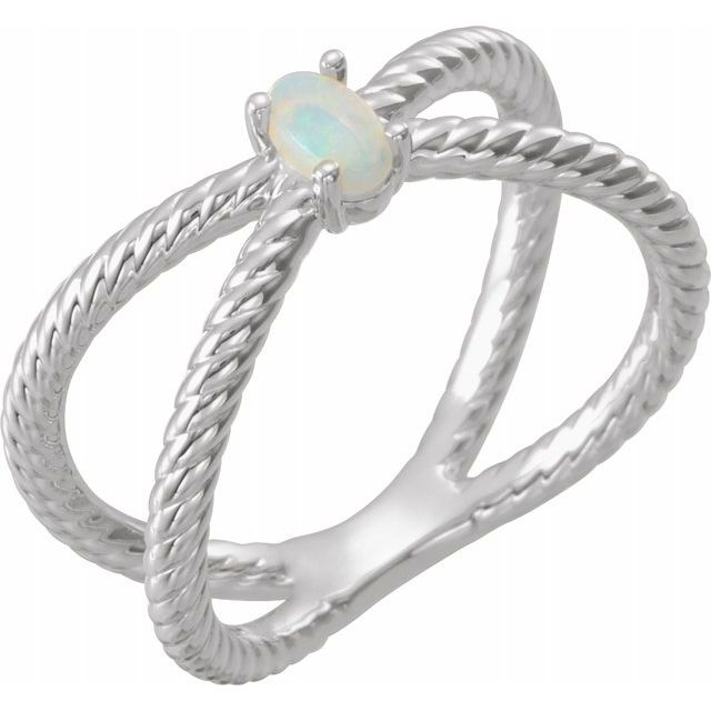 White Opal Ring in Platinum 5x3 mm Opal Criss-Cross Rope Ring