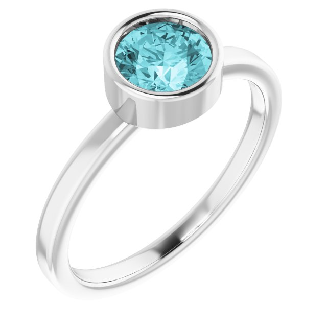 Genuine Zircon Ring in Platinum 6 mm Round Genuine Zircon Ring
