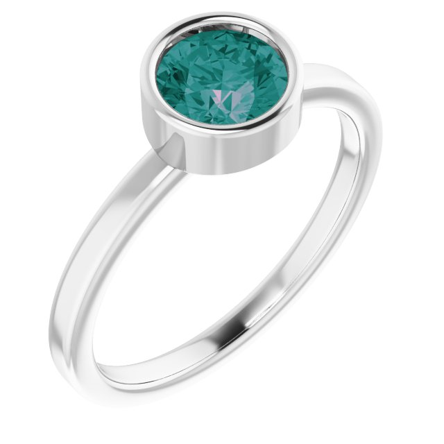 Chatham Created Alexandrite Ring in Platinum 6 mm Round Chatham Lab-Created Alexandrite Ring
