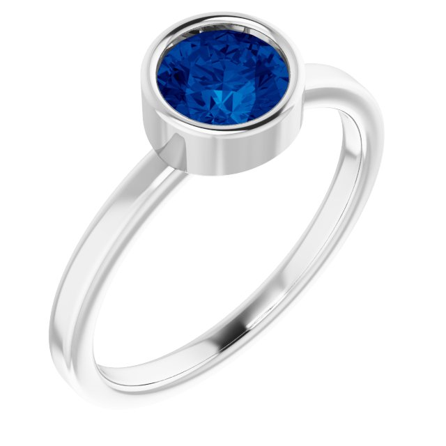 Chatham Created Sapphire Ring in Platinum 6 mm Round Chatham Lab-Created Genuine Sapphire Ring