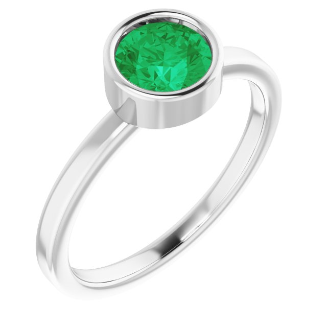 Chatham Created Emerald Ring in Platinum 6 mm Round Chatham Lab-Created Emerald Ring