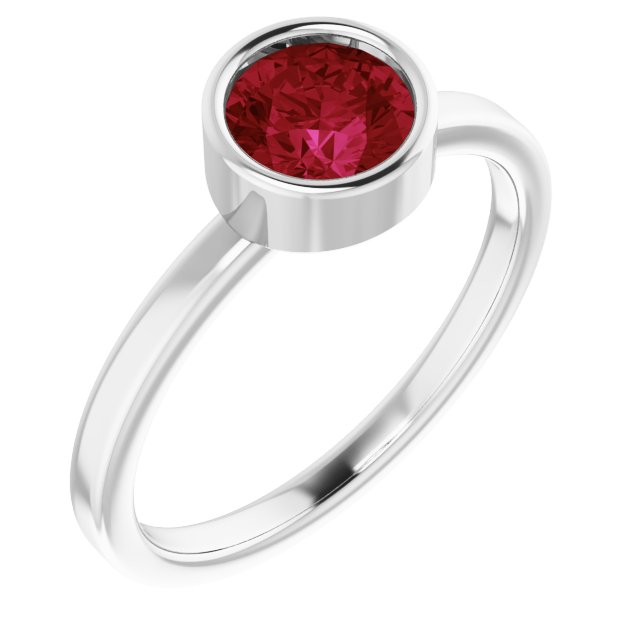 Chatham Created Ruby Ring in Platinum 6 mm Round Chatham Lab-Created Ruby Ring