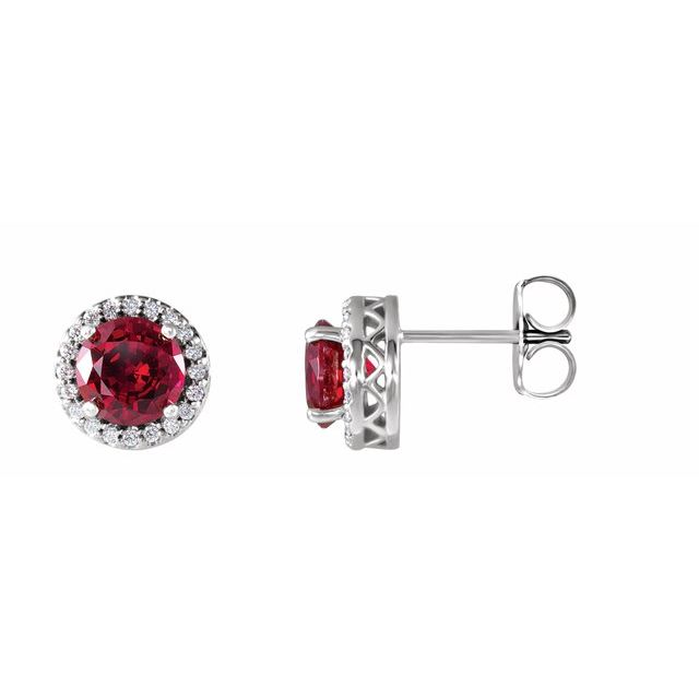Created Ruby Earrings in Platinum Chatham Lab-Created Ruby & 1/10 Carat Diamond Earrings