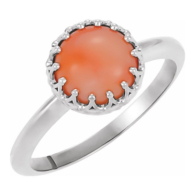 Pink Coral Ring in Platinum 6 mm Round Pink Coral Ring