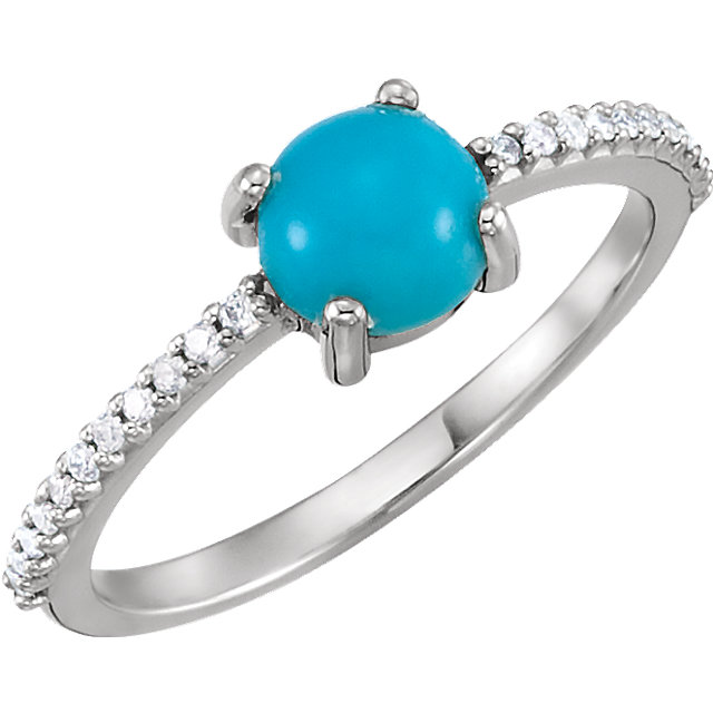 Very Nice Platinum 6mm Round Cabochon Turquoise & 0.12 Carat Total Weight Diamond Ring
