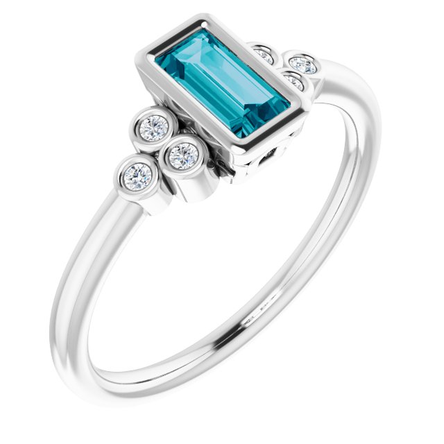 Genuine Topaz Ring in Platinum 6x3 mm Straight Baguette London Genuine Topaz & .06 Carat Diamond Ring