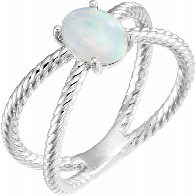 White Opal Ring in Platinum 6x4 mm Opal Criss-Cross Rope Ring