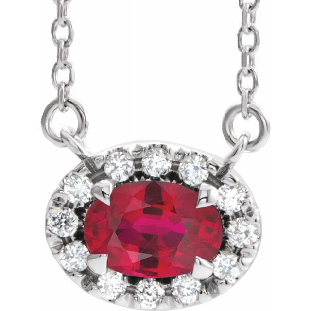 Genuine Ruby Necklace in Platinum 6x4 mm Oval Ruby & 1/10 Carat Diamond 18
