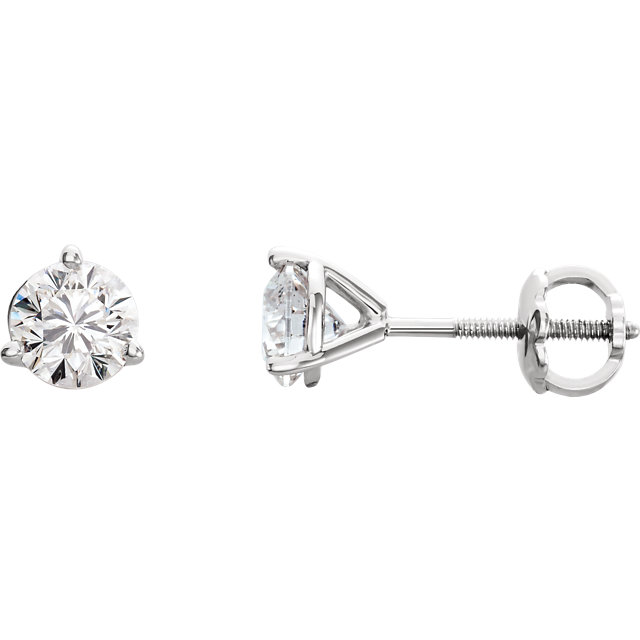 Exquisite Platinum 3/8 Carat Total Weight Riente Round Genuine Diamond Stud Earrings