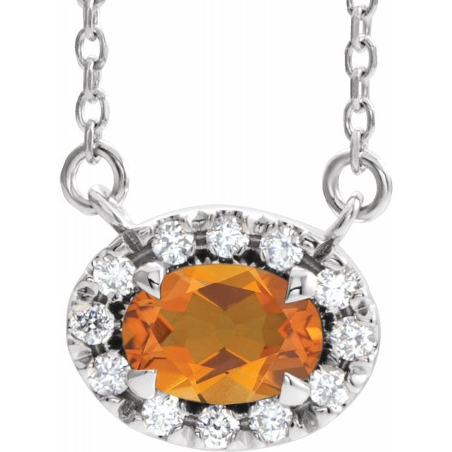 Golden Citrine Necklace in Platinum 7x5 mm Oval Citrine & 1/6 Carat Diamond 18