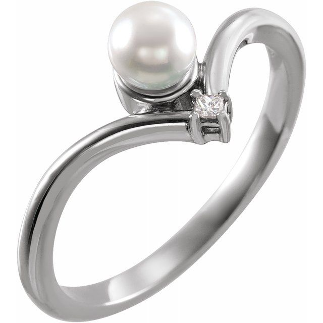 Real Akoya Pearl Ring in Platinum Akoya Cultured Pearl & .025 Carat Diamond Ring