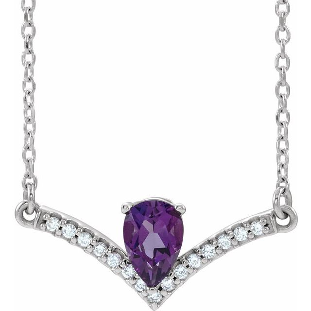 Genuine Amethyst Necklace in Platinum Amethyst & .06 Carat Diamond 18
