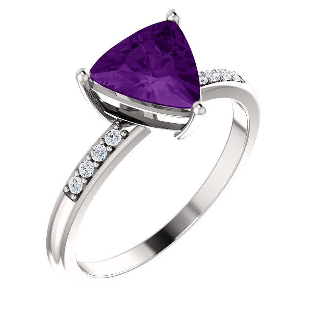 Contemporary Platinum Amethyst & .08 Carat Total Weight Diamond Ring