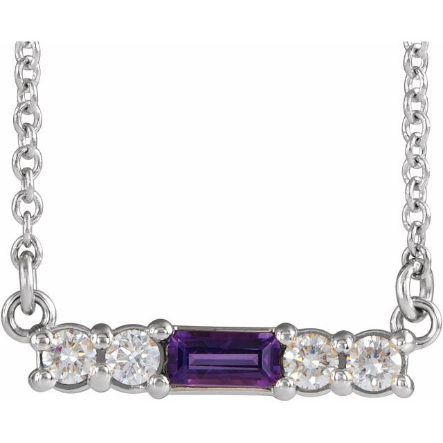 Genuine Amethyst Necklace in Platinum Amethyst & 1/5 Carat Diamond 16