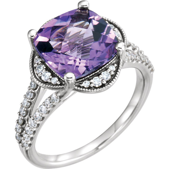 Terrific Platinum Cushion Genuine Amethyst & 3/8 Carat Total Weight Diamond Ring
