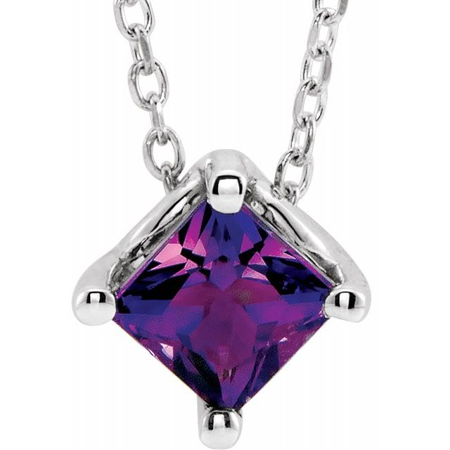 Genuine Amethyst Necklace in Platinum Amethyst Solitaire 16-18