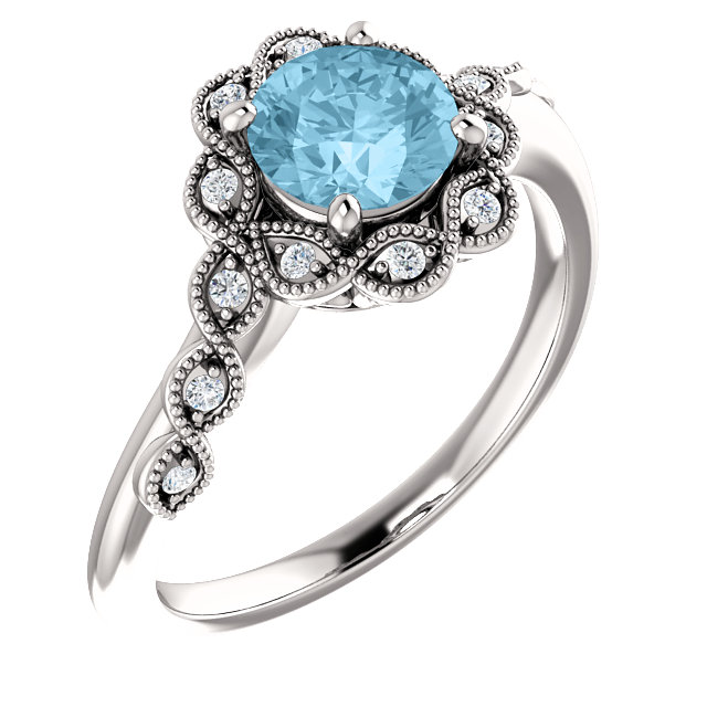 Surprise Her with  Platinum Aquamarine & .07 Carat Total Weight Diamond Ring