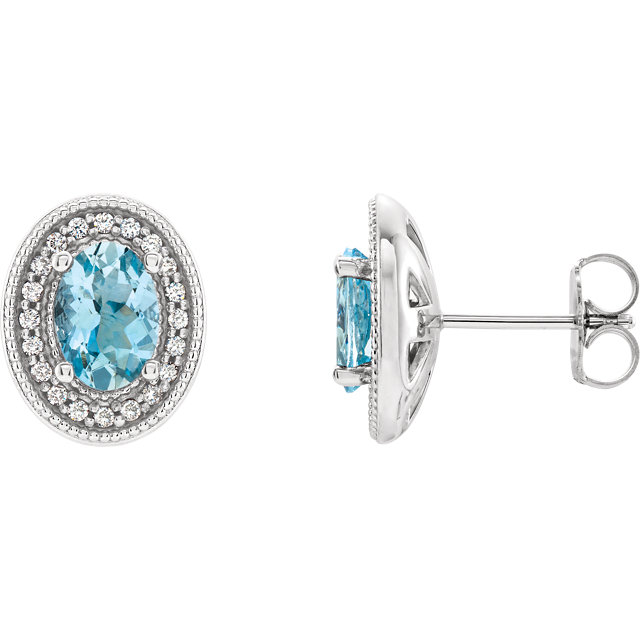 Chic Platinum Aquamarine & 0.20 Carat Total Weight Diamond Halo-Style Earrings