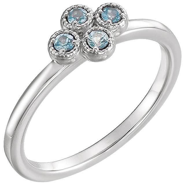 Perfect Jewelry Gift Platinum Aquamarine Ring
