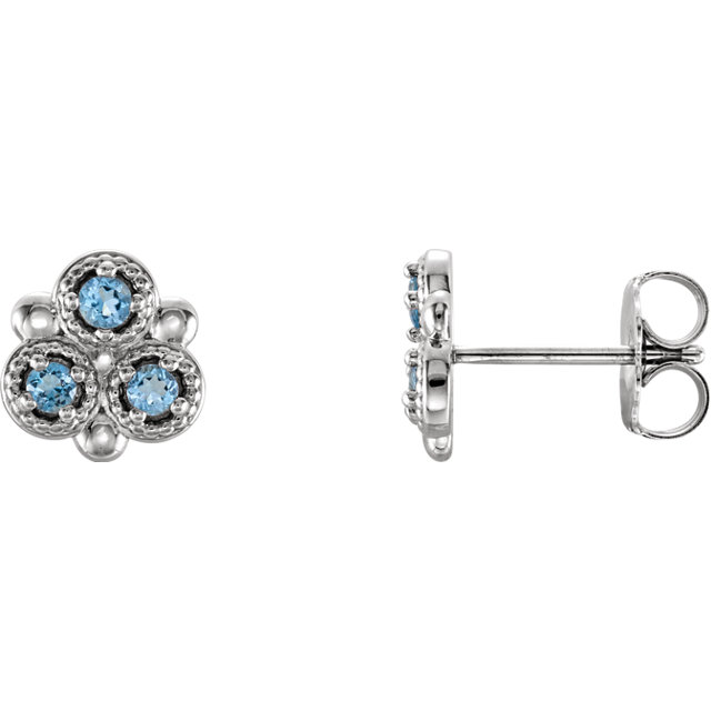 Great Gift in Platinum Aquamarine Three-Stone Earrings