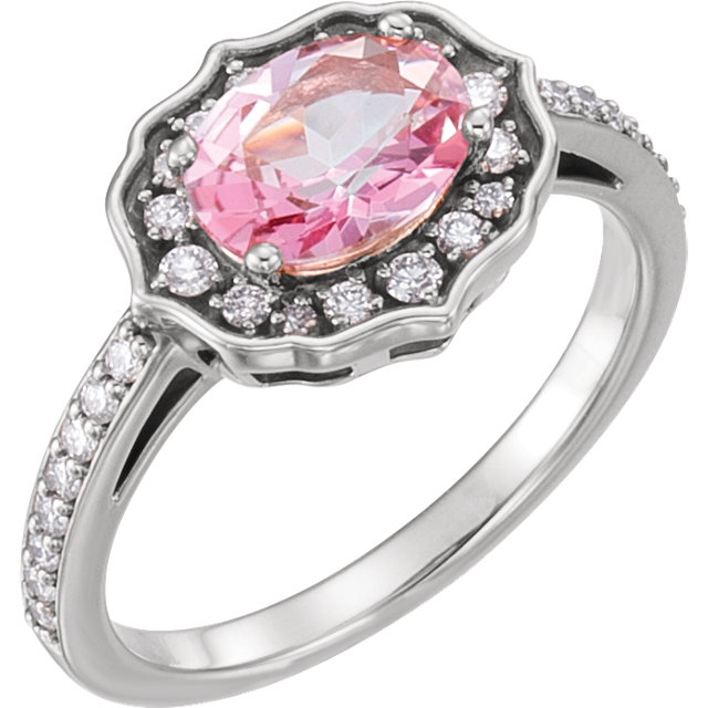 Eye Catching Platinum Oval Genuine Baby Pink Topaz & 1/3 Carat Total Weight Diamond Ring