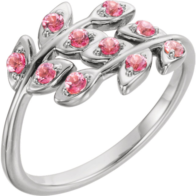 Chic Platinum Round Genuine Baby Pink Topaz Leaf Design Ring