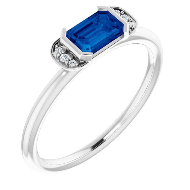 Genuine Sapphire Ring in Platinum Genuine Sapphire & .02 Carat Diamond Stackable Ring