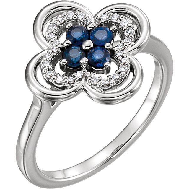 Wonderful Platinum Blue Sapphire & 0.10 Carat Total Weight Diamond Clover Ring